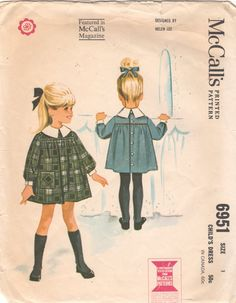 1960s McCalls 6951 Girls Smock Style DRESS Pattern by mbchills