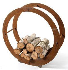 Rust Steel Outdoor Wood Holder Sculpture
