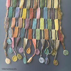 Sophie Digard tørklæde - str. 25 x 145 cm - Orange, grønne, gule, rosa og beige…