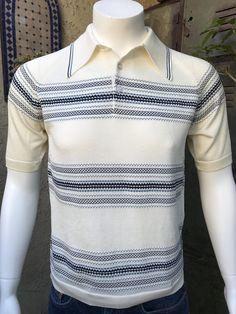 4ff399f5c Van Heusen Vintage 60s Men Knit Shirt Pullover/ Short Sleeve Cream with  Blue Stripe Size M/ Van Heusen Coleseta Retro Knit Men's Shirt