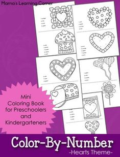 Free Heart Themed Color By Number Worksheets for Preschoolers and Kindergartners