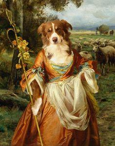 Pet Portrait by Valerie Leonard, collection 1, Border Collie as Shepherdess.