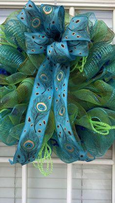 Deco Mesh Peacock Wreath,