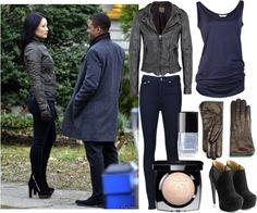 Joan Watson. Leather Jacket. Skinny Jeans. Shoes.