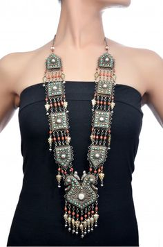 Necklace   House of Amrapali. Silver, imitation coral, turquoise and pearls    Amrapali signature statement jewelery
