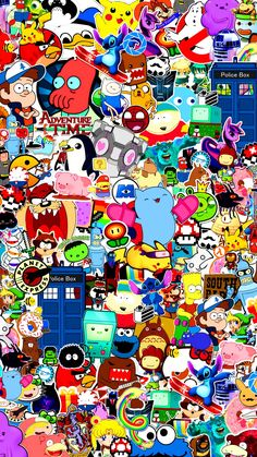 Filled with colorful characters iPhone wallpaper