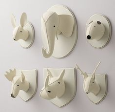 RH Baby & Child's Wool Felt Animal Heads:Soft wool felt puts a friendly twist on the iconic animal busts, with contrasting felt accents that give these lovable creatures their irresistible character. Animal Heads On Wall, Animal Head Decor, Felt Diy, Felt Crafts, Nursery Themes, Nursery Decor, Nursery Wall Art, Woodland Animals, Woodland Nursery