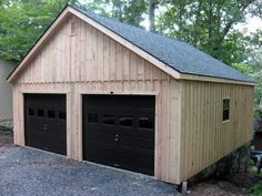 Horizon Structures 24x24 2-car garage with second floor.  Exterior siding is natural pine board and batten.