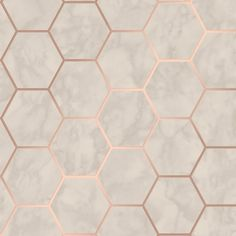 Add a modern twist to your space with the Crown CWV Margaret Marble Hexagon Wallpaper . The hexagon shapes have a marble pattern for a great accent wall. Rose Gold Marble Wallpaper, Hexagon Wallpaper, Tile Wallpaper, Kitchen Wallpaper, Marble Effect Wallpaper, Marble Wallpapers, Cor Rose Gold, Papier Paint, Rose Gold Kitchen