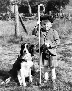+~+~ Vintage Photograph ~+~+  Three-year-old Roderick Davidson from England dressed in a Scottish kilt and sporran during a visit to Scotland with Lux, one of the entrants at the Glendevon Sheep Dog Trials, Perthshire. 8th September 1954