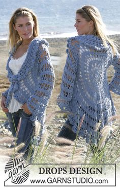 "DROPS circle jacket crochet with 2 strands ""Alpaca"". Sizes S-XL ~ DROPS Design"