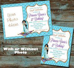 Princess Jasmine Birthday Invitation - Princess Birthday Party - Aladdin Birthday Party Invite - Digital File Diy by SweetSimplySouthern on Etsy https://www.etsy.com/listing/256213859/princess-jasmine-birthday-invitation
