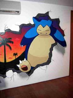 Snorlax wall painting! I want this in my future house, in like my chill room or something