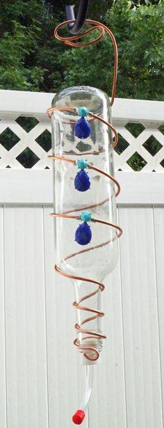 Wine Bottle hummingbird feeder