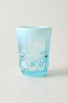 blue tumbler from anthropologie.  I bought one and love it for those special little evening drinks.
