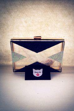 Handmade Black And white Pop art smallClear Transparent Perspex Acrylic Box Clutch, Evening bag, Shoulder bag with golden chain  #humancat #handmade #clutch