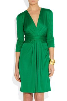 Issa | Ruched silk-jersey dress.  women's fashion.  looks like kate middleton's engagement dress.