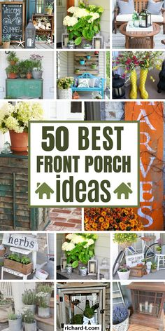 50 Of the best front porch ideas you will aboslutely love! These front porch ideas are simple, cheap and look really professional. Front Porch Plants, Summer Front Porches, Small Front Porches, Farmhouse Front Porches, Front Porch Flowers, Summer Porch Decor, Country Porches, Devon, Small Porch Decorating