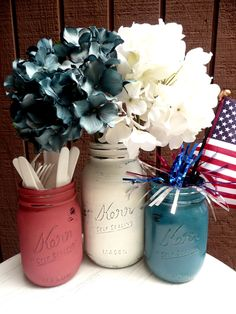 @Lisa Spalla...love this!!  July 4th Red, White, Blue Painted and Distressed Shabby Chic Mason Jars - outdoor and backyard BBQ Home Decor. $13.00, via Etsy.