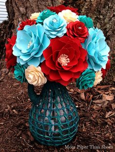 Handmade+Paper+Flowers++Paper+Flower+Bouquet+by+morepaperthanshoes,+$75.00