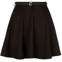 Black Belted Skater Skirt ($12) ❤ liked on Polyvore featuring skirts, mini skirts, bottoms, saias, faldas, chiffon mini skirt, mini circle skirt, belted mini skirt, flared skirt and mini skater skirt
