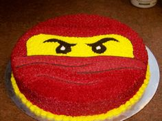 "Red Ninjago - 12"" round devil's food cake buttercream icing"