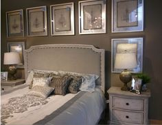 You won't believe where I found this stylish bedroom... I love the frames, love the bed cover and I love the bed... Geez! I love it all!