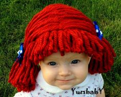 Raggedy ann wig Halloween Costume Baby wig baby costume by YumbabY, $24.95 #halloweencostumes #Halloween #costumes #costumesforkids #raggedyann #wig #wigs #yarn #cabbagepatch #hat #red