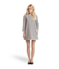 6668c4142b80 Women s sailor-striped dress in heavy jersey beige Coquille   blue Abysse -  Petit Bateau