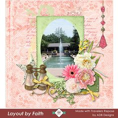 """#TravelersRepose collection by #ADBDesigns was inspired by a quote from William Blake: """"Travelers repose and dream among my leaves""""  It was perfect for this layout where you can see the soft colors and spring like ambiance of the palette. It is suitable for all types of images, including wedding, children, family and romance. #ADBDesigns #digitalscrapbooking #CTHS SAVE 30 to 60% off 11/09 to 11/20"""