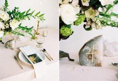 From a geode-studded sash to a terrarium centerpiece covered in crystalized rocks and white rock candy cocktail stirrers, we're loving these Dream Wedding, Wedding Day, Wedding Stuff, Fantasy Wedding, Wedding 2017, Wedding Tables, Wedding Wishes, Contemporary Wedding Inspiration, Reception Decorations