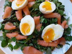 Smoked Salmon, Asparagus, Pea Shoots and Egg Salad - World Food Tour