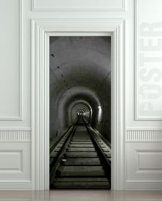 Mina subestación ferroviaria ETIQUETA Puerta mural pit decole Película  autoadhesiva cartel 30x79