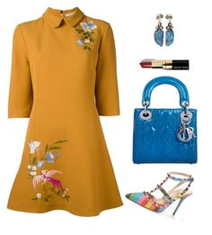 """""""Embroidered Shift Dress and Colorful Accessories"""" by arta13 on Polyvore featuring VIVETTA, Valentino, Federica Rettore, Christian Dior and Bobbi Brown Cosmetics"""