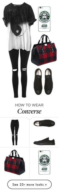 """#314"" by uccelli on Polyvore featuring Topshop, Dsquared2, Converse, women's clothing, women, female, woman, misses and juniors"