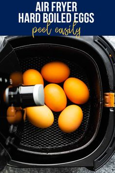 Air fryer hard boiled eggs are cooked through in 16 minutes, peel easily, and are perfectly cooked each and every time! This is such a simple way to cook them. #sweetpeasandsaffron #airfryer #snack #readyunder30 #mealprep #healthysnack Healthy Chips, Healthy Foods To Eat, Best Breakfast Recipes, Breakfast Ideas, Snack Recipes, Air Fryer Fries, Cooks Air Fryer, Ways To Cook Eggs, Portobello Mushroom Recipes
