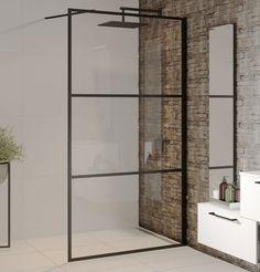 Czarna kabina Walk In Riho Grid GB400. -------------- #riho #łazienka #kabina #Showers #prysznicowe #kabinyprysznicowe #architekturawnętrz #mojemieszkanie #bedroom #tiles #livingroom #bathroominspiration #bathroomofinstagram #inspiracja Shower Cabin, Grid, Walk In, Shelving, Divider, Room, Furniture, Cabins, Home Decor