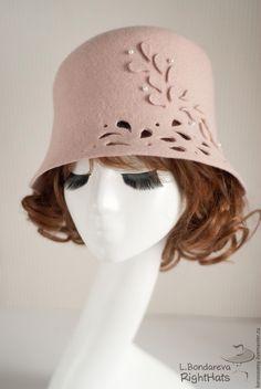 Купить МЕЛОДИЯ КАПЕЛИ - бежевый, пудра, клош, шляпка, купить шляпку, весна, москва