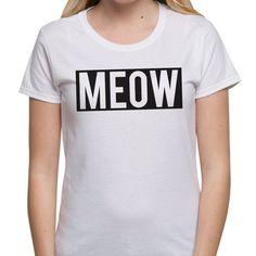 Slogan T Shirt Festival Top Meow Cat T shirts Womens Summer Clothing