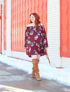 Off The Shoulder Swing Dress and Over The Knee Boots