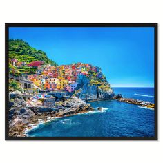 Cinque Terre Mediterranean Sea Landscape Photo Canvas Print Pictures Frames Home Décor Wall Art Gifts