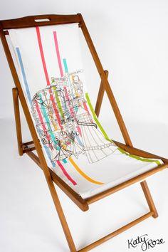 'Bestival' deckchair featuring a hand drawn design by Katy Rose Design
