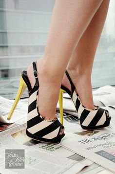 black and yellow be careful what you wear with these you don't want to look like a be, this rule go with all shoes who have different color heel.