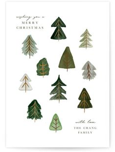 """Winter Trees"" - Customizable Holiday Petite Cards in Green by Jennifer Lew.- Holiday Petite Cards by Minted"