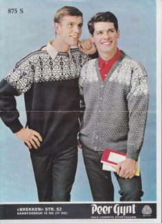 Brekken 875 Norwegian Knitting, Fair Isle Knitting, Vintage Knitting, Vintage Sweaters, Vintage Men, Knitting Patterns, Knit Crochet, Men Sweater, Colour Combinations