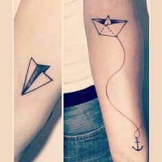 Follow me ;) #origami #origamitattoo #papierboot #papierflieger #anchortattoo…