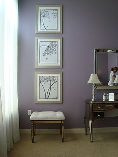 lavender wall paintOver The Moon White Bedding and light lavender walls  Home