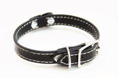 Small Genuine Lizard Dog Collar Black/Grey 15'' by RandallandSons