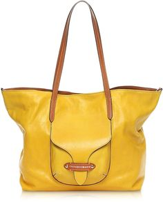 Francesco Biasia Kensington Large Yellow Leather Tote Bag