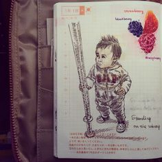 20140101.11M1D.standing on the subway without dad's support. #BabyJournal #ほぼ日手帳 #Hobonichi